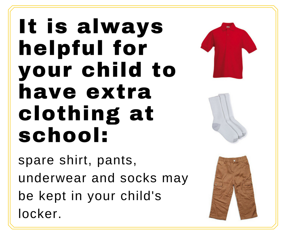 Extra Clothes at school Inforgraphic