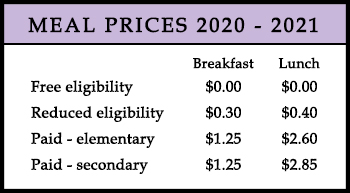 meal prices for the 20-21 school year