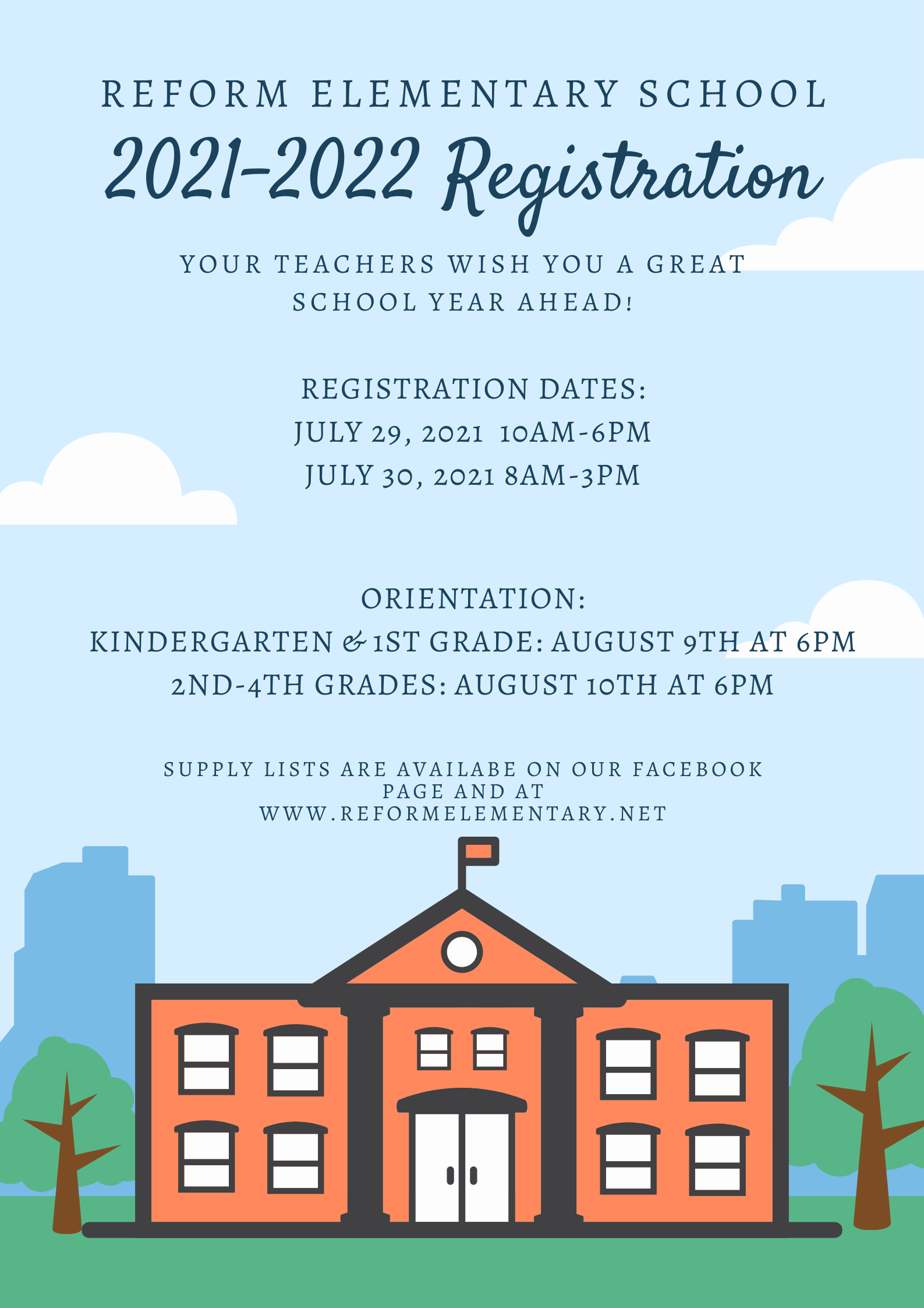 Reform Elementary Registration July 29th and 30th