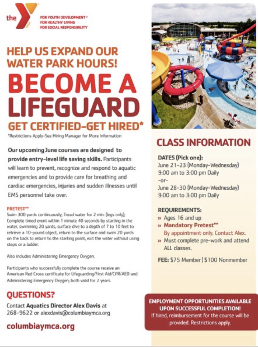 Life Guard Training Flyer Contact office for more information.