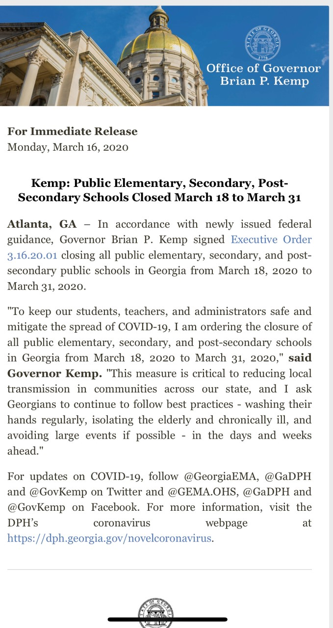 News From Governor Kemp