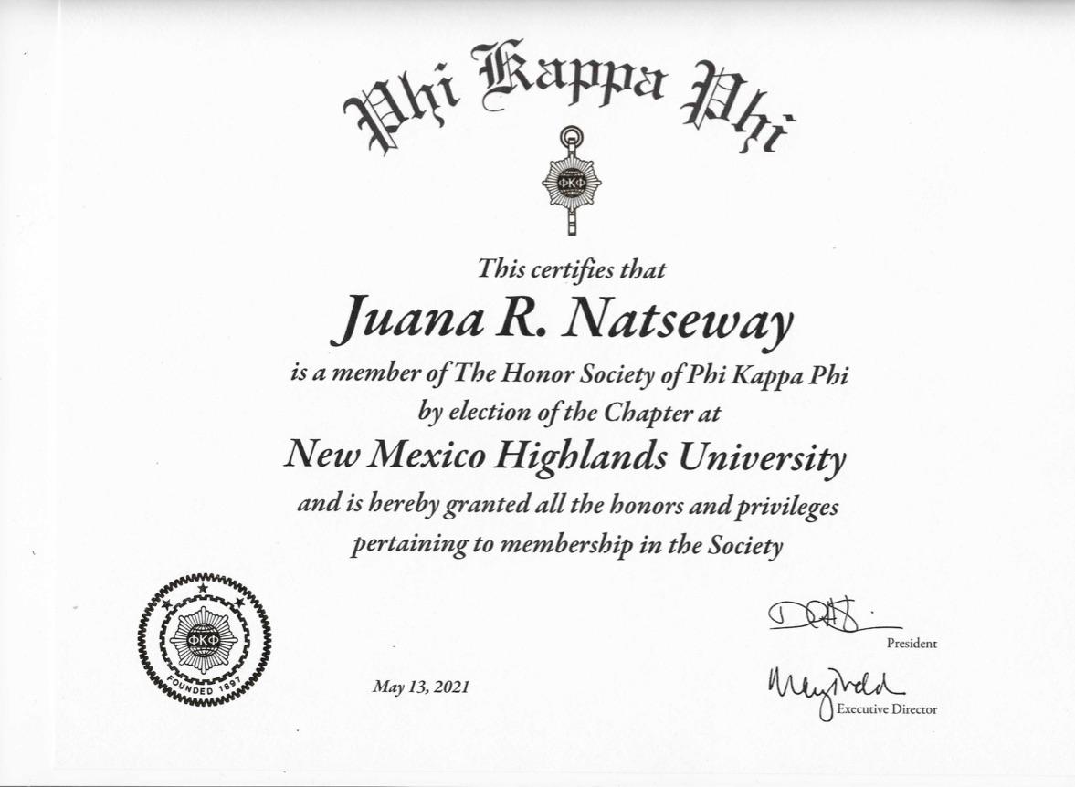 Juana Natseway Certificate
