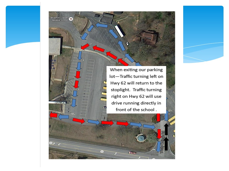 turn left at the back corner of the school before entering the bus area