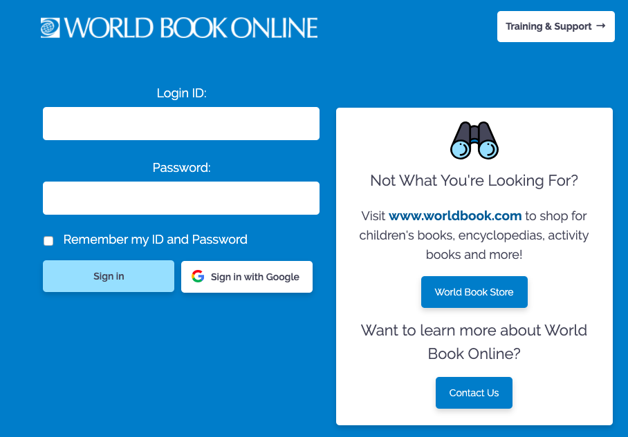 World Book Online (Click Here for Link)