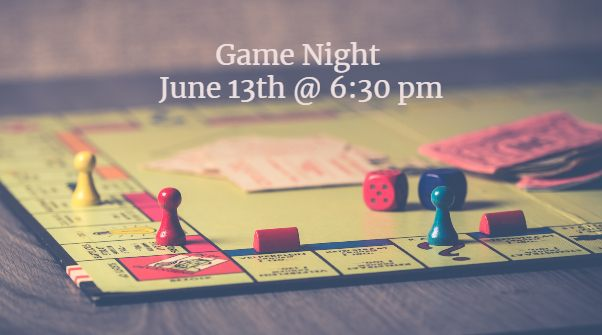 board game with words saying game night June 20th