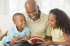 Dad and Kid reading