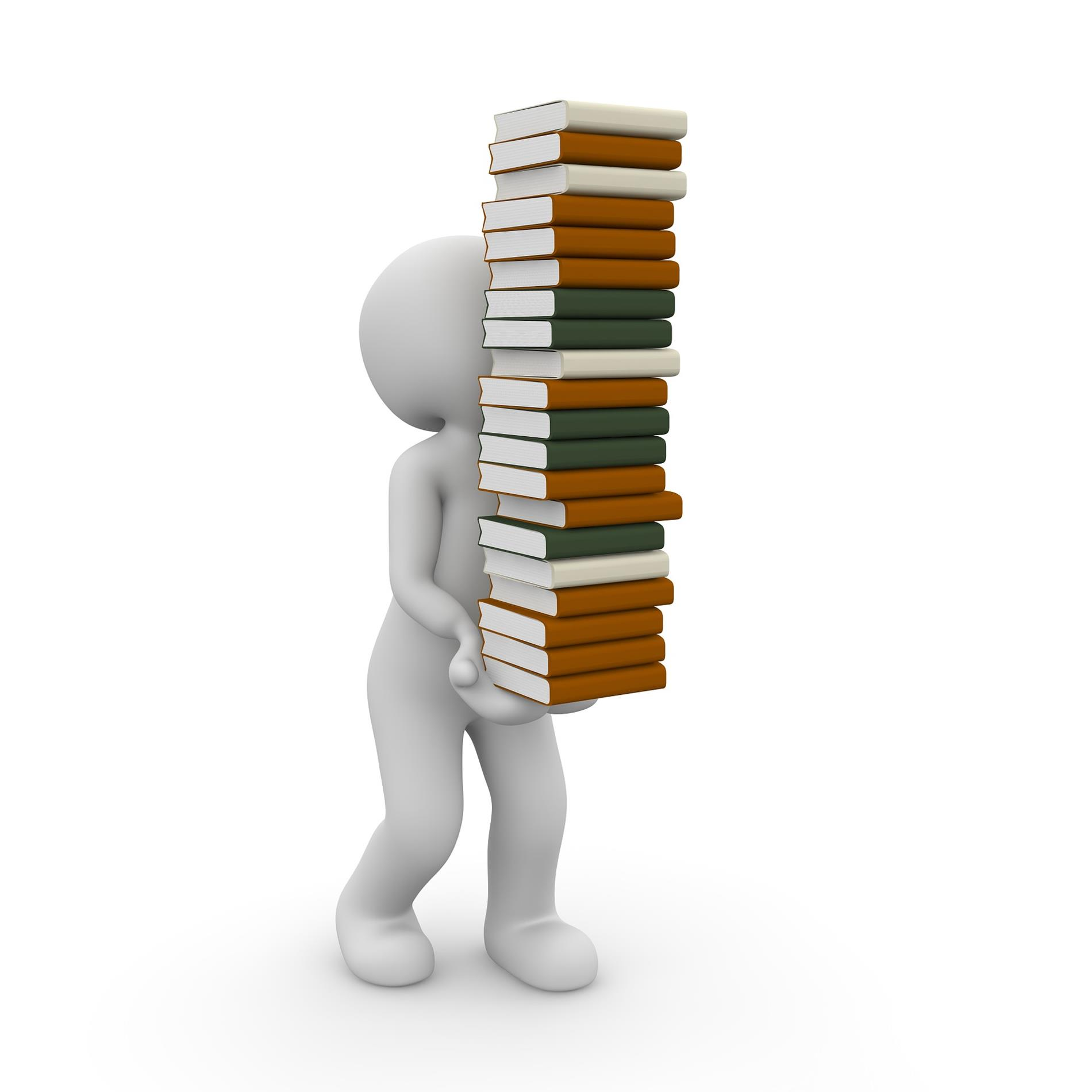 human figure with very tall stack of books