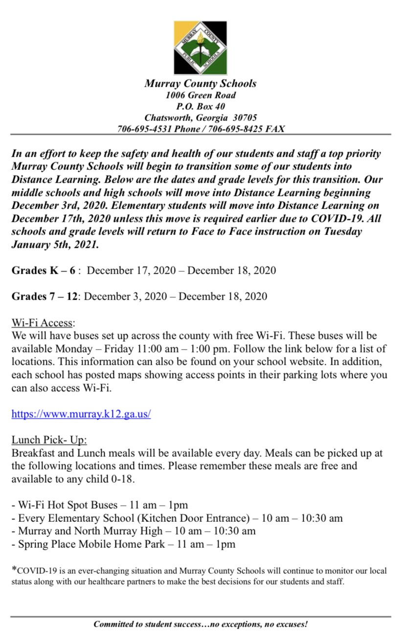 DIstance Learning Notice