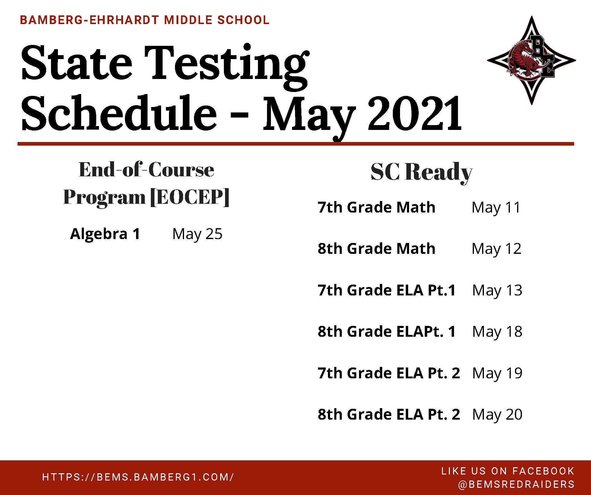 BEMS 2020 - 2021 Testing State Testing Schedule