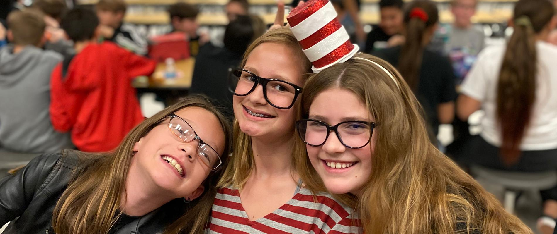 3 girls together at Dr. Suess day