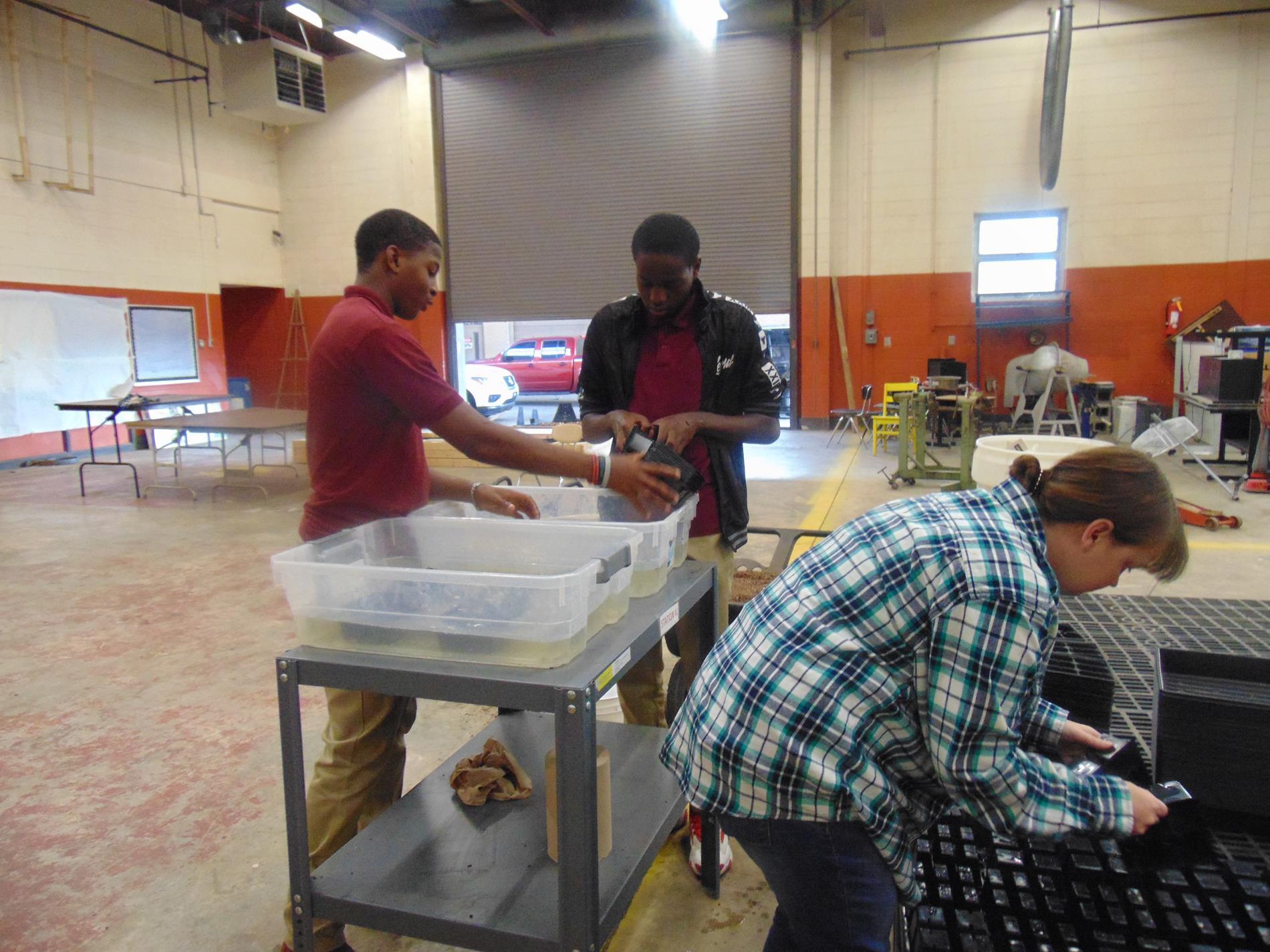 Agriculture class preparing seedlings