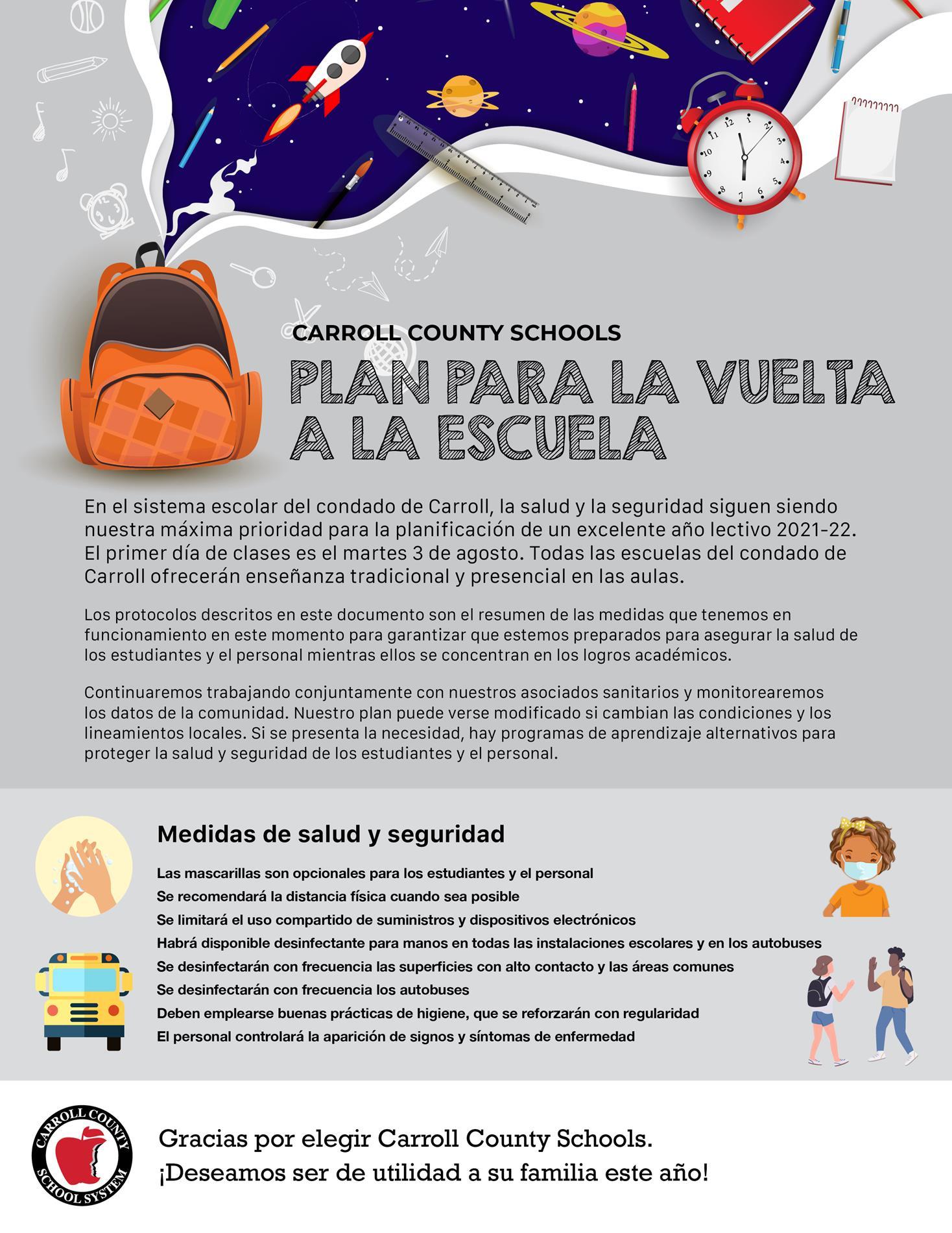 CCS Return to School Plan Spanish FY22