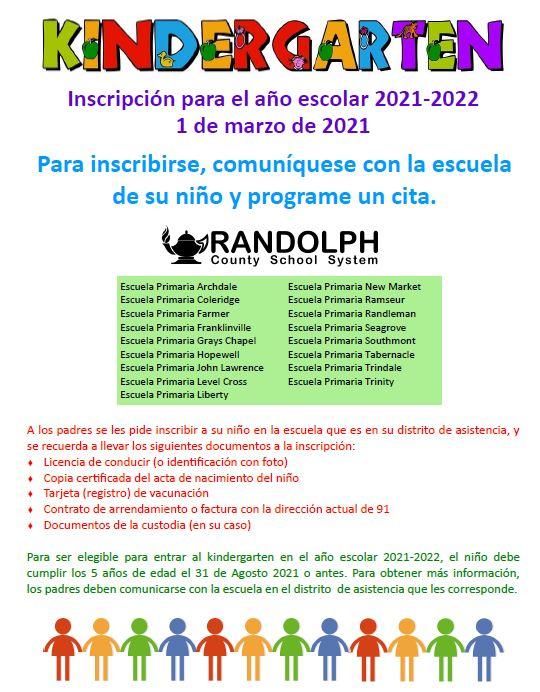 Kindergarten Registration in Spanish