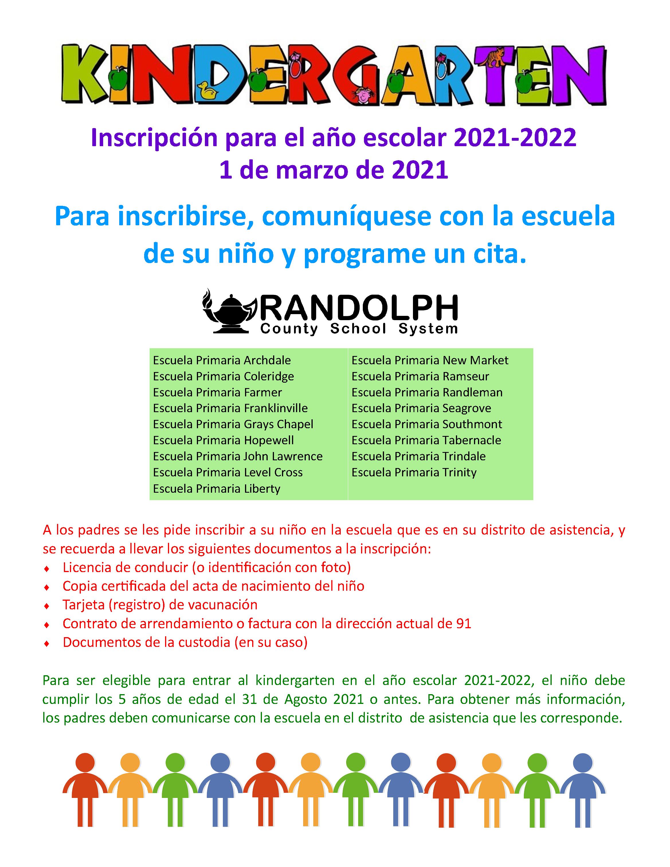Kindergarten Registration Spanish