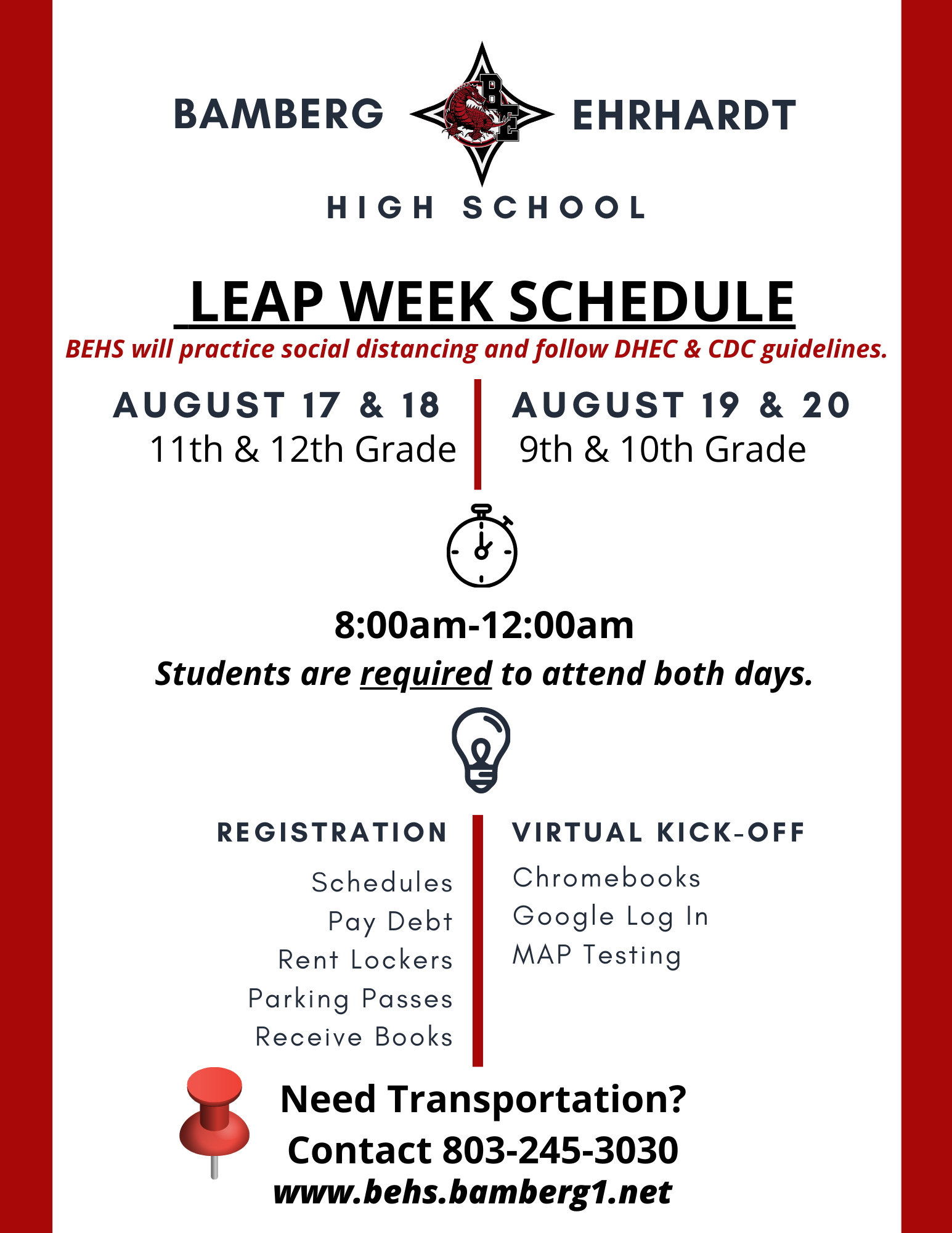 Leap week Schedule page 1. Contact School Office for more information.