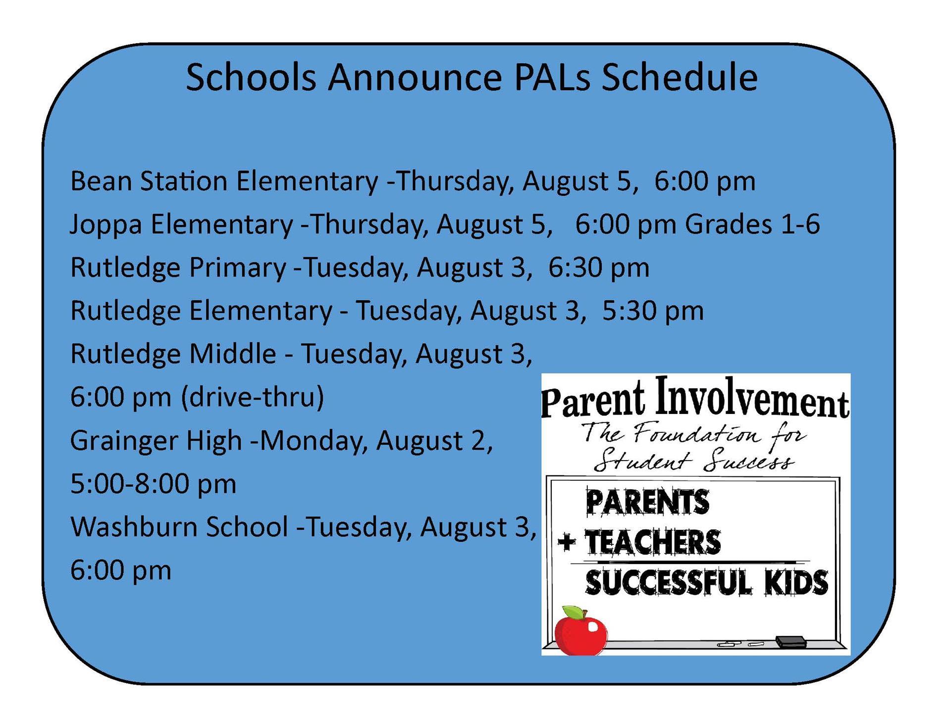 PALS Schedule