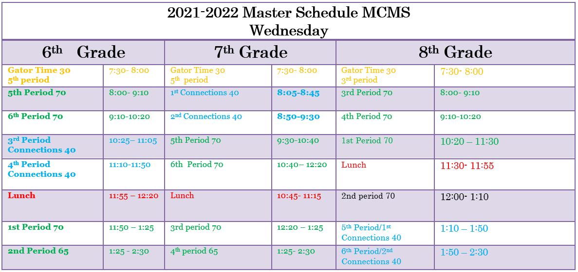 Wed. schedule