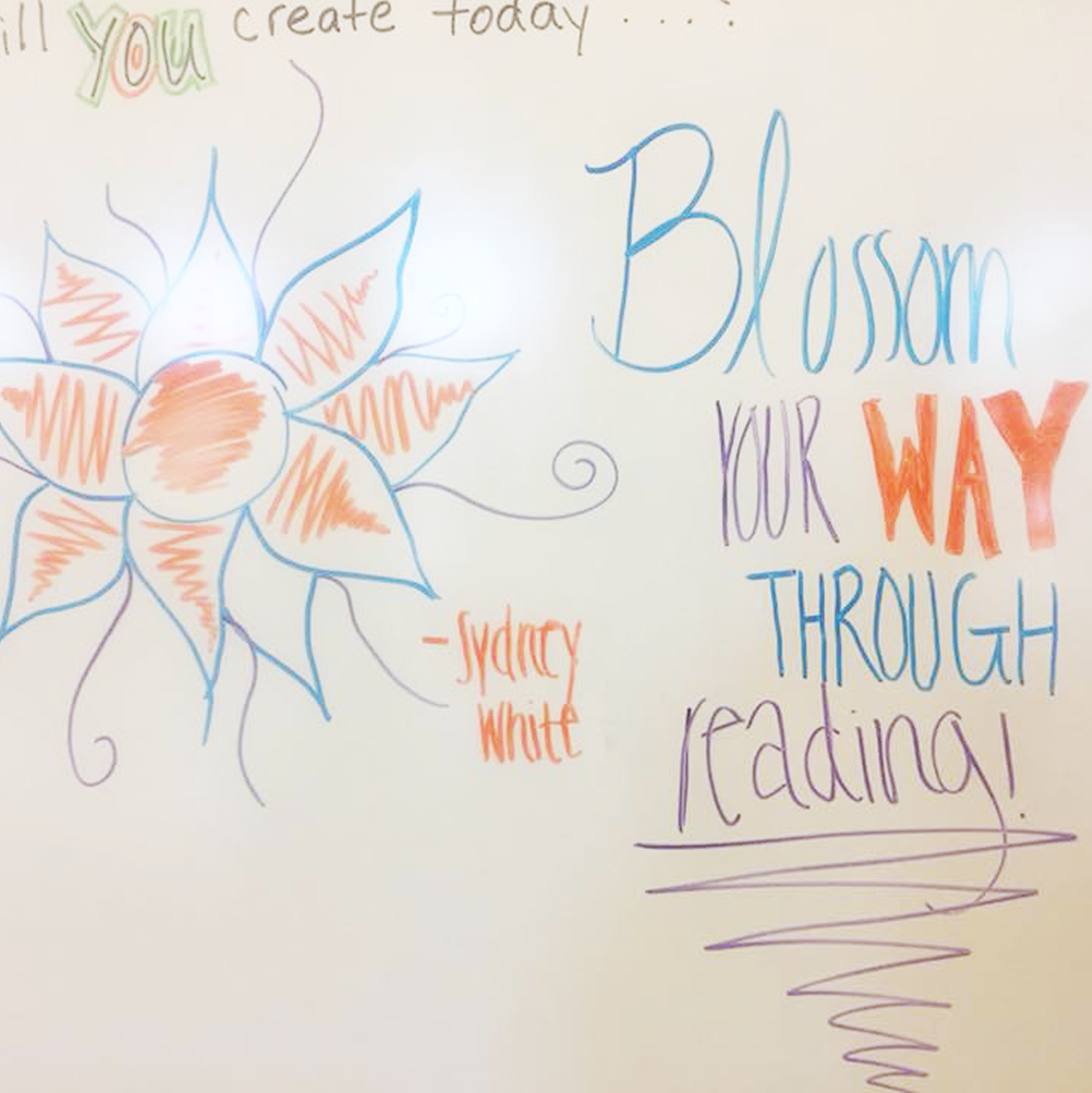 Blossom your way through reading whiteboard flower art by Sydney White