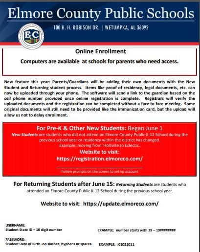 Online Registration for Pre-K & New Students