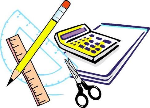 ruler, pencil, calculator
