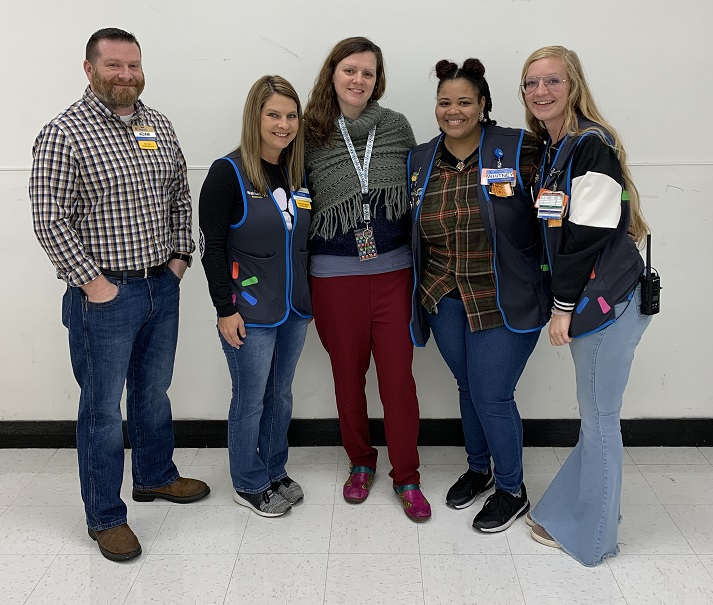 Troy Walmart Management Staff pictured with Mrs. Butts, School Counselor at GES