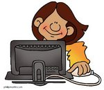 Cartoon Girl using a computer
