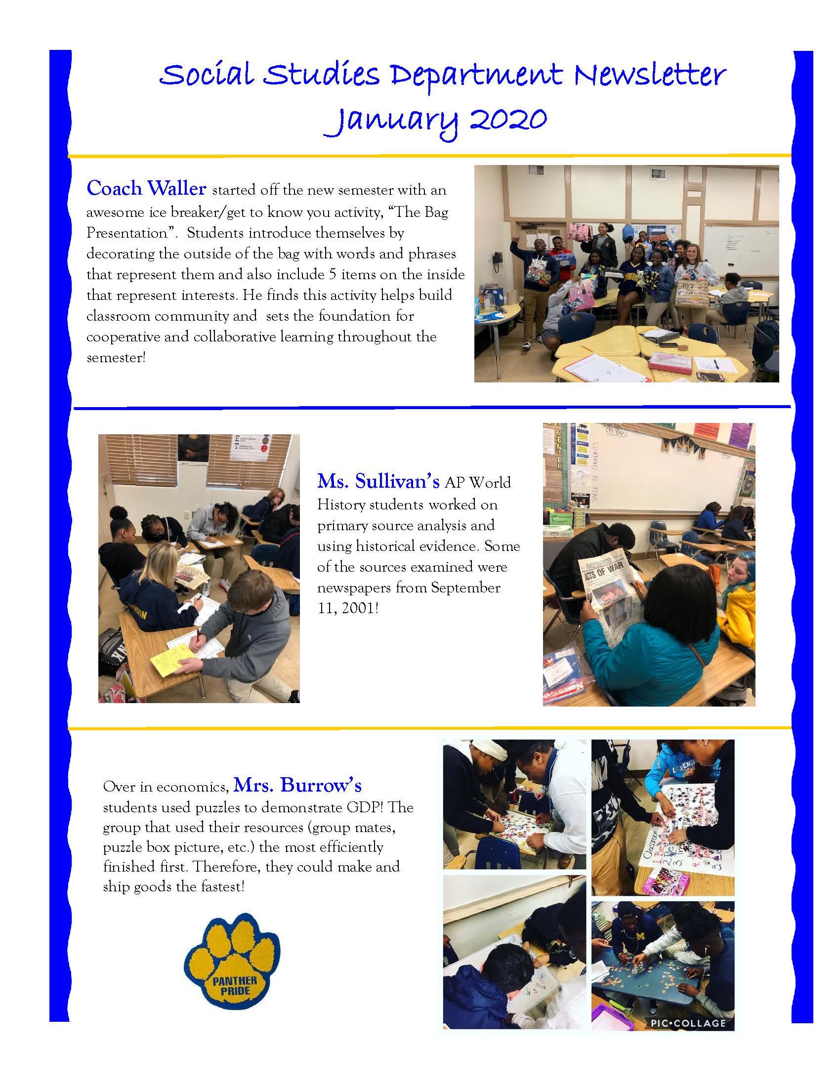 Social Studies Newsletter