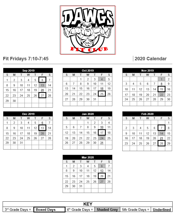 Fit Club Calendar