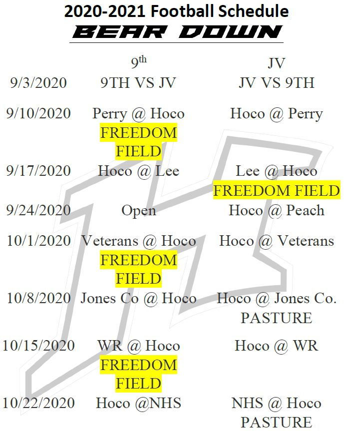 JV and 9th Football Schedule