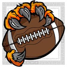Picture of a tiger claw holding a football