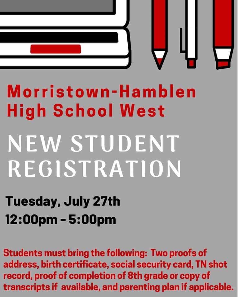 new student registration july 27 12-5 p.m.