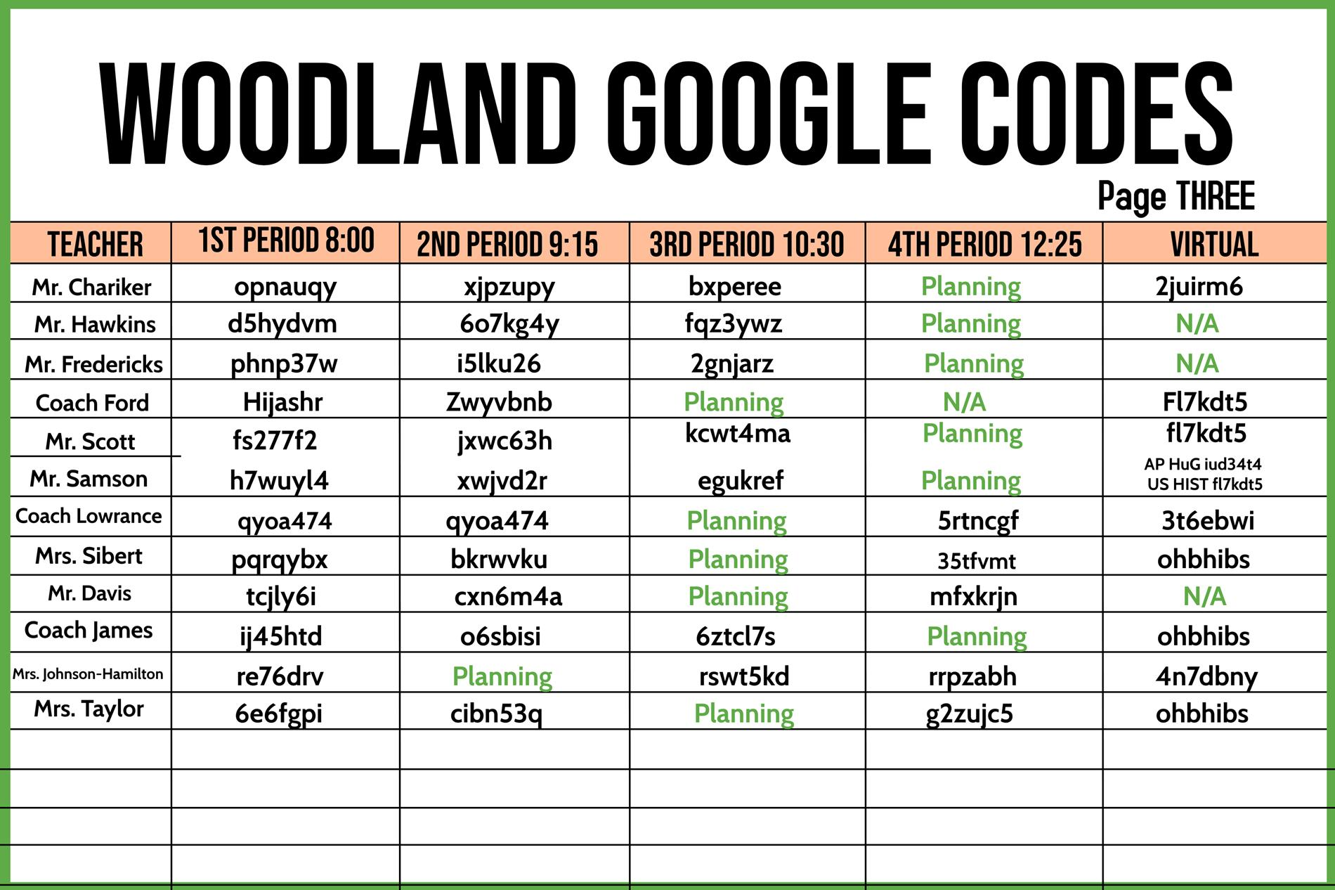 Google Classroom Codes page 3