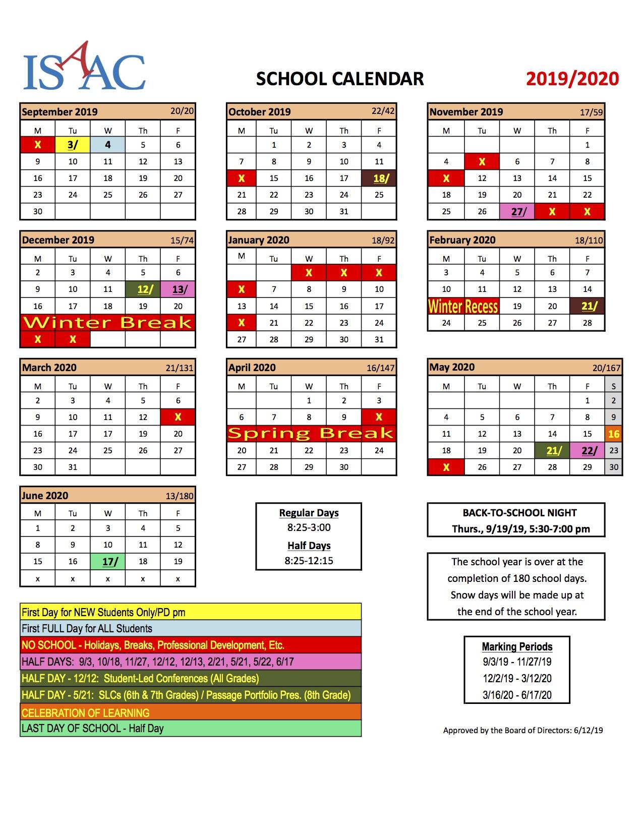 Families Calendar