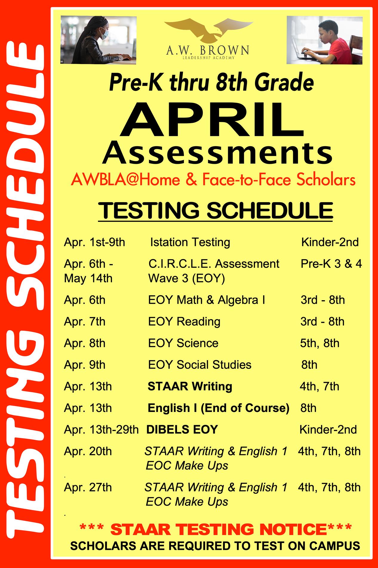 April Testing Schedule