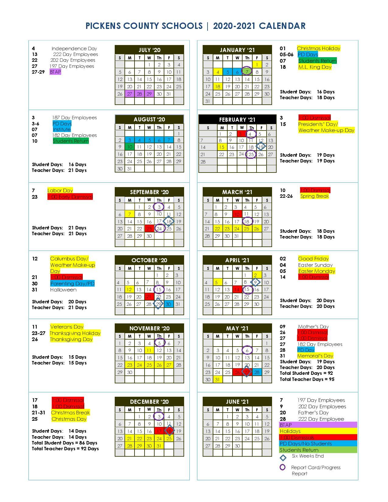 Pickens County Schools 2020-2021 Calendar