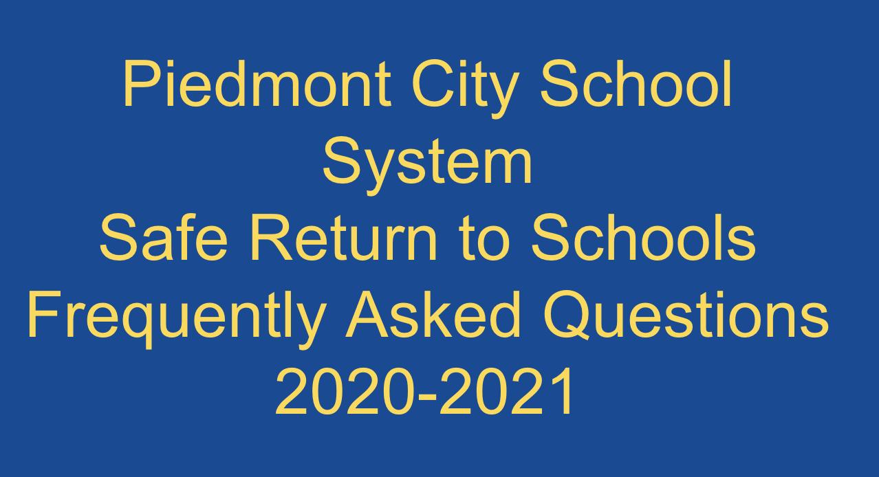 Safe Return to School FAQ