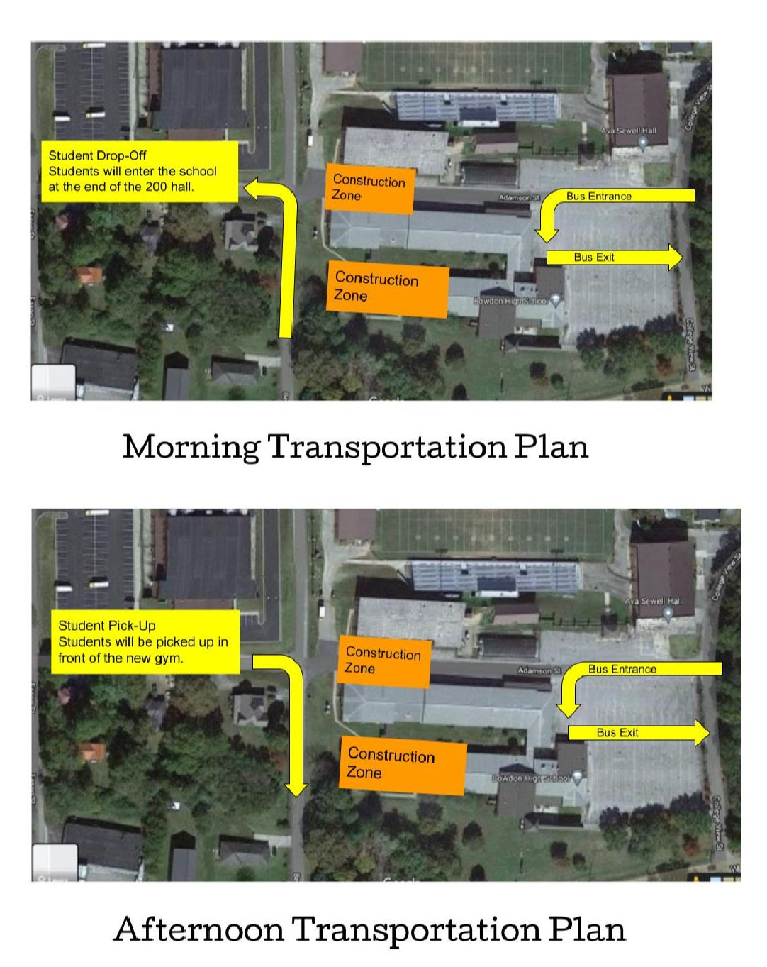 picture of pick up and drop off bus and car rider map