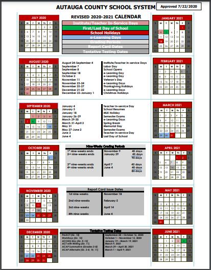 Revised(as of 7/22/20) ACBOE 2020-2021 Calendar