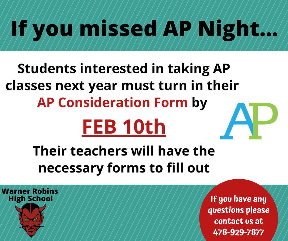 AP Forms due Feb 10