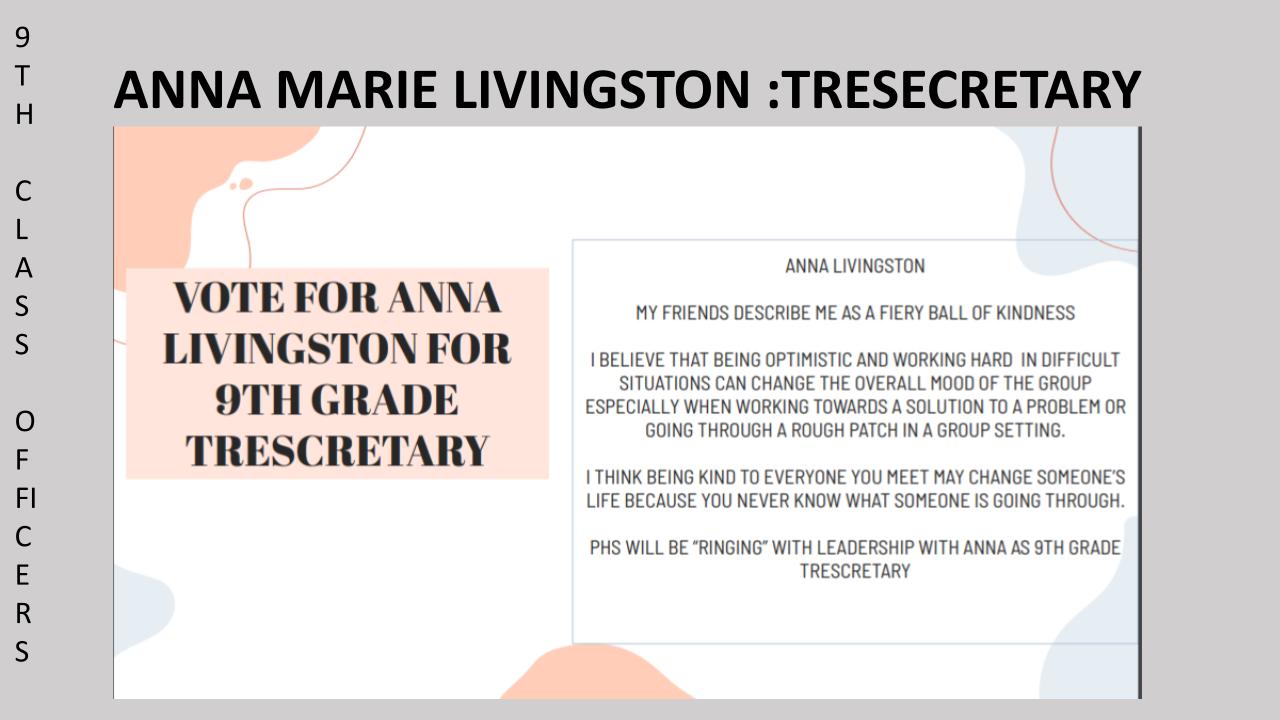 Vote Anna Marie Livingston 9th Grade Class SGA Secretary/Treasurer