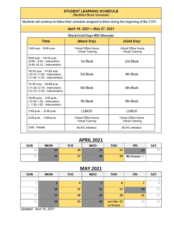 Revised Student Learning Schedule