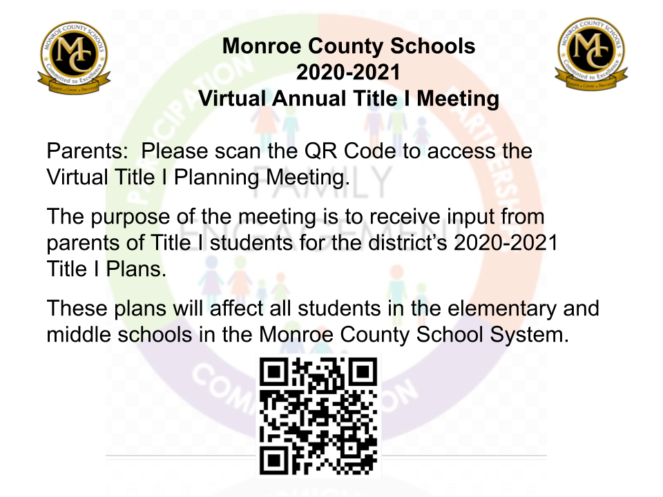 Monroe County Schools Annual Title I Meeting
