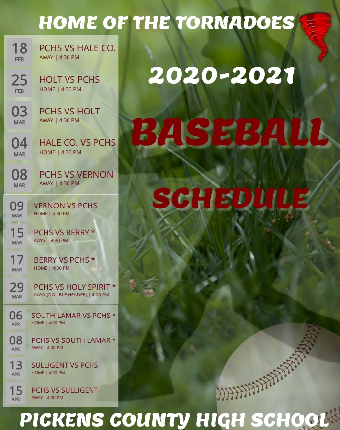 PCHS Baseball Schedule