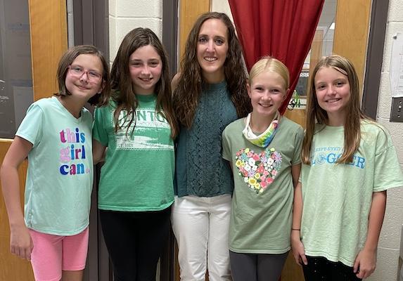 Sixth grad students with Ms. Hawkins