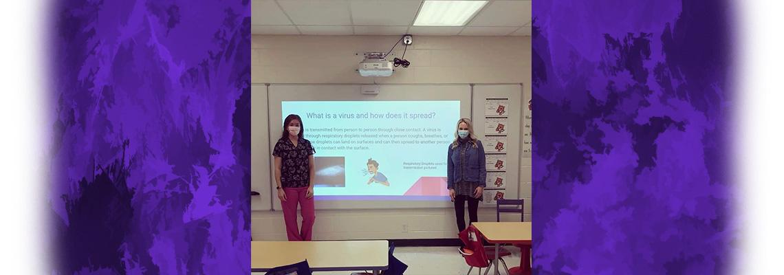 nurse and counselor teaching handwashing