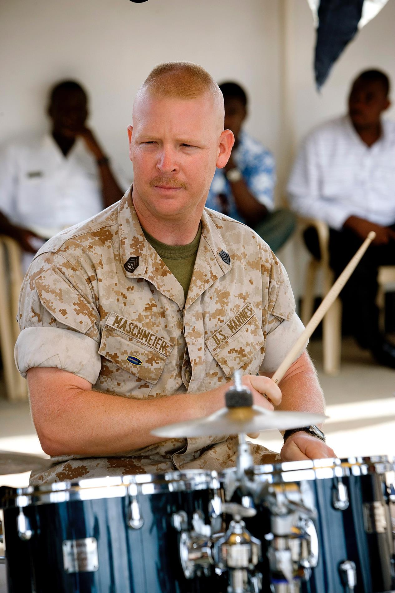 Photo taken in Tema, Ghana during a joint performance with the Ghanese Armed Forces Band. I've been playing drums the longest of any of the instruments I play. I started set lessons in 4th grade taking after my dad who played the St. Louis area in his band The Cove Tones back in the 50s.