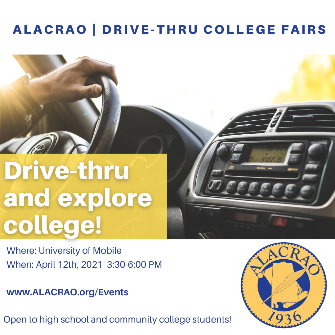 drive thru college fair at the University of Mobile on April 12th