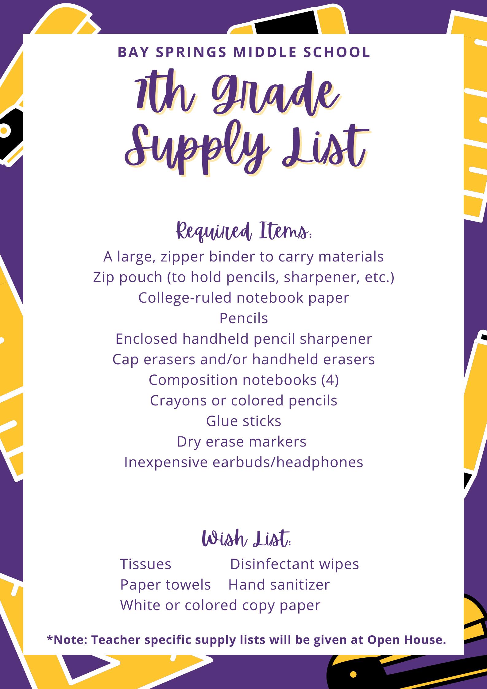 6th Grade School Supply List
