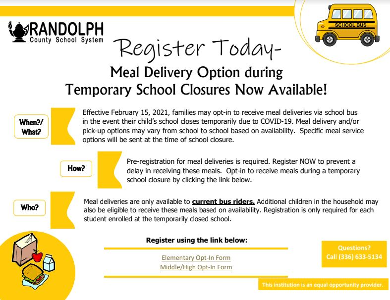 Meal Delivery Option incase of Temporary School Closure