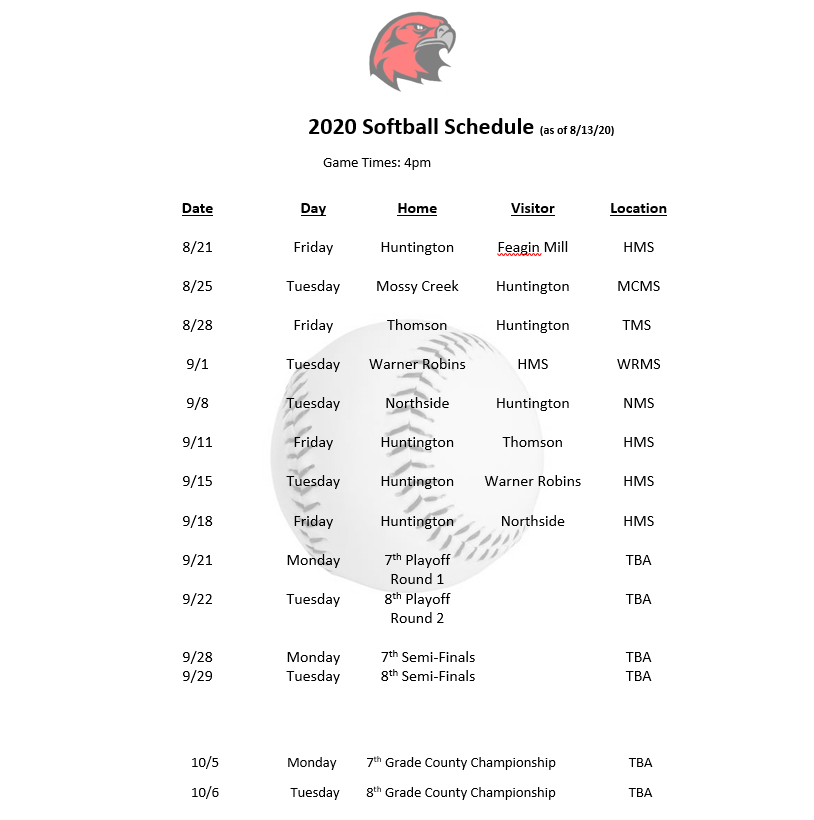 Revised 2020 Softball Schedule